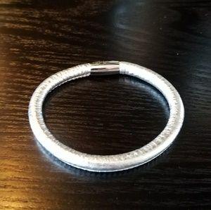 Brighton silver metallic leather bracelet.